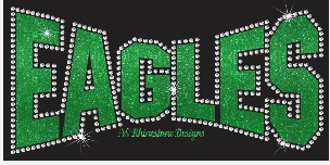 Eagles Arched Rhinestone Transfer