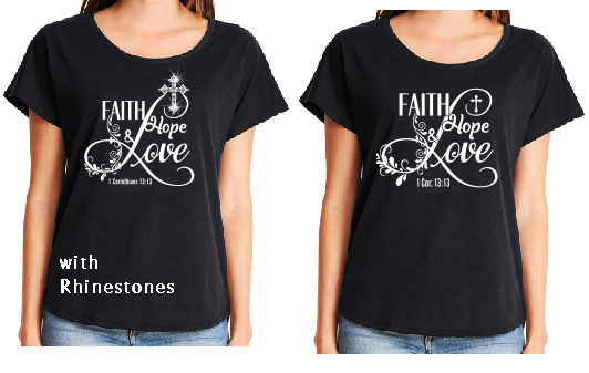 Faith Hope Love Vinyl and Rhinestone T-shirt