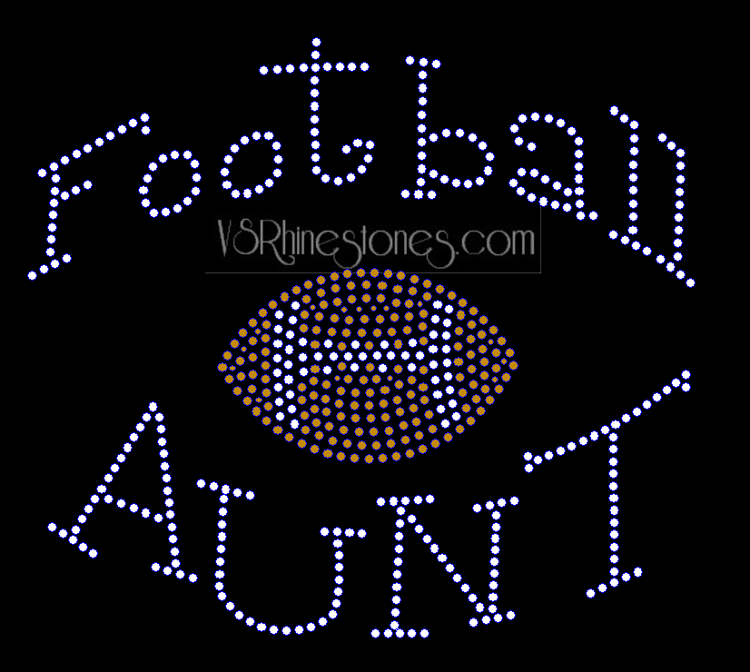 Football Aunt Rhinestone Transfer