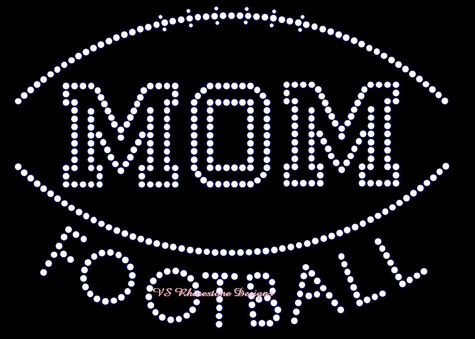 Football Mom Varsity Arched Rhinestone Transfer
