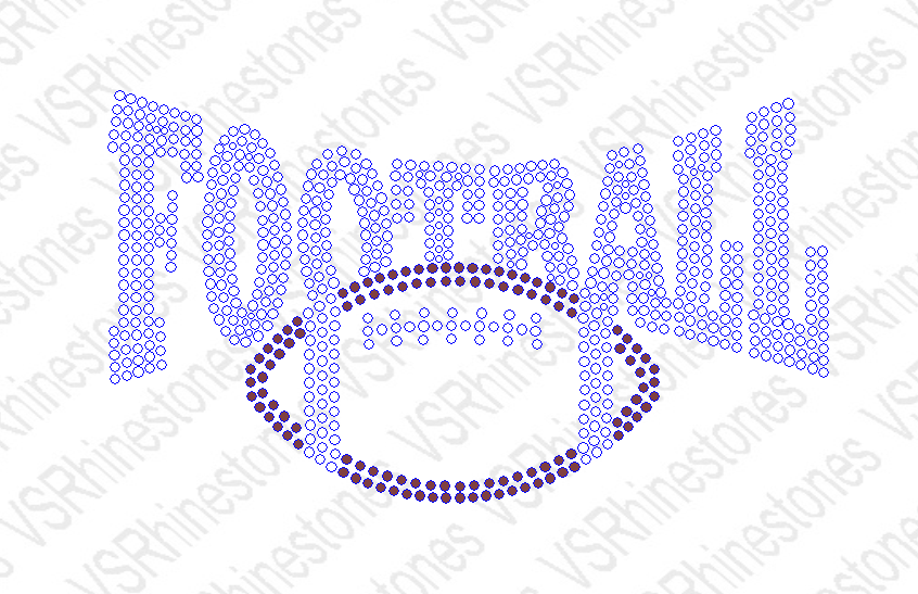 Football Word Football Rhinestone Transfer