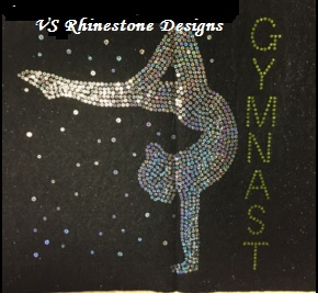 -Gymnast Girl Large Sequin and Rhinestone Design - Lime