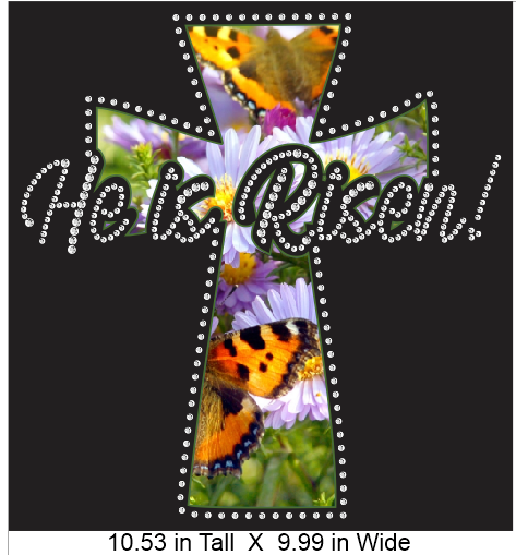 He is Risen Spring Print Vinyl and Rhinestone Combination