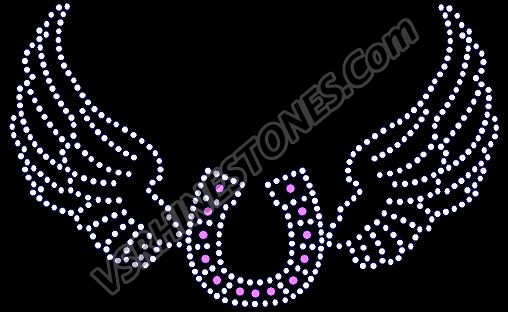 Horseshoe Wings Rhinestone Transfer