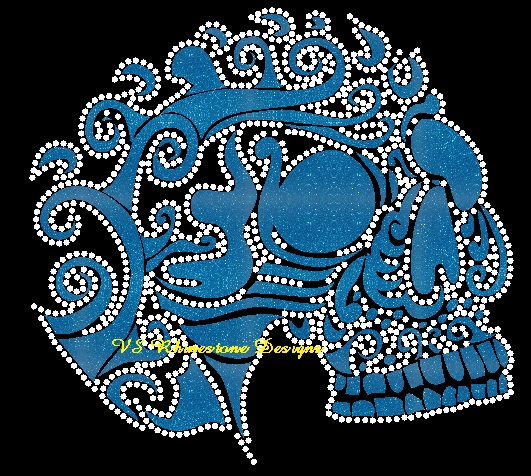 Mexican Sugar Skull Rhinestone and Vinyl Transfer
