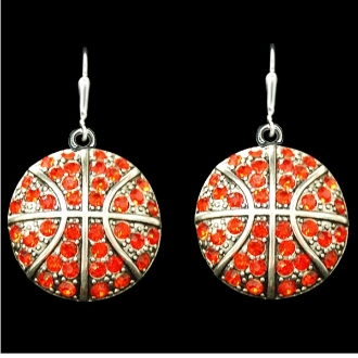 Basketball Rhinestone Earrings - CLEARANCE