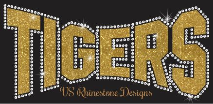 Tigers Arched Vinyl and Rhinestone Transfer