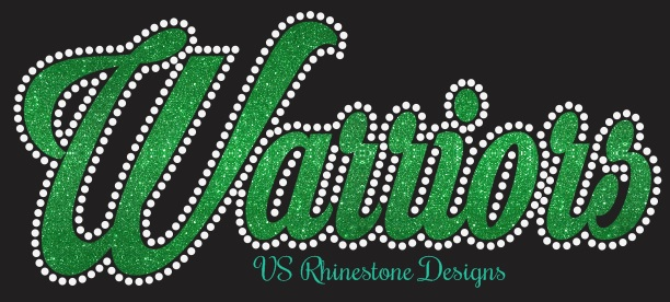 Warriors Cursive Rhinestone and Vinyl Transfer