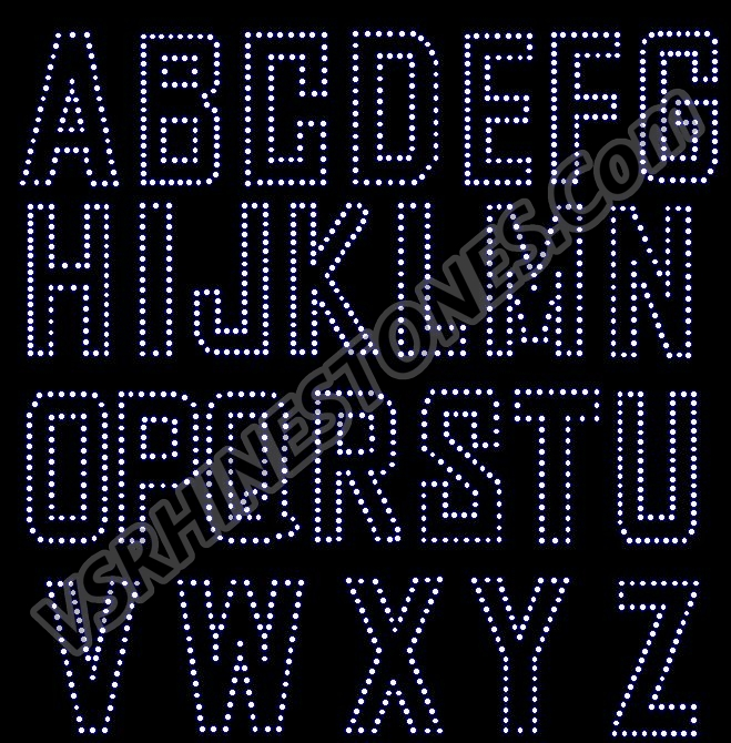 Alphabet Outline Rhinestone Transfer