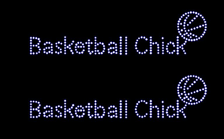 Basketball Chick - Cap Size - (Set of 2) Rhinestone Transfer