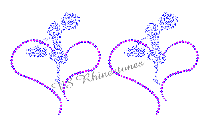 Cheerleader in Heart Rhinestones (set of 2) Rhinestone Transfer