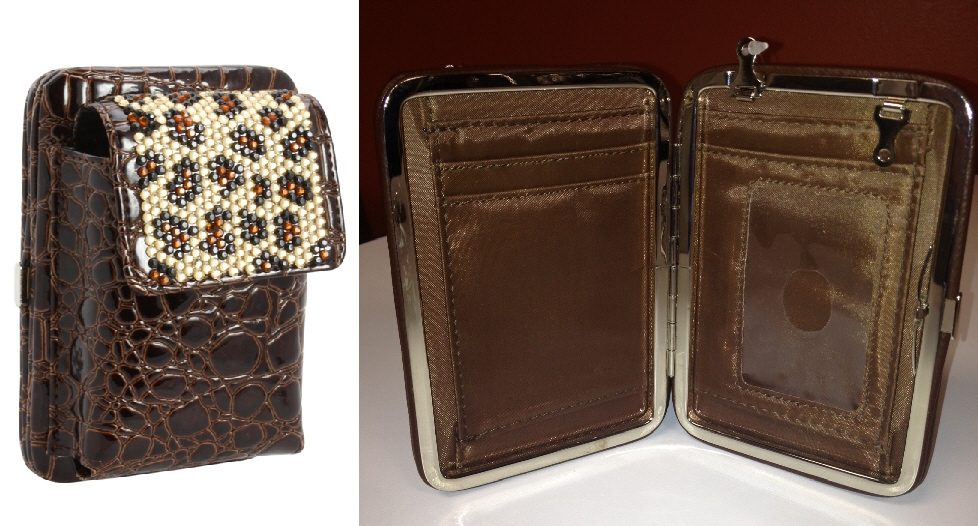 Rhinestone CellPhone Purse/Wallet - Brown Cheetah