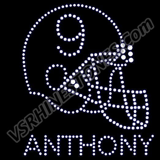 Football Helmet Rhinestone Transfer (Personalization Optional)