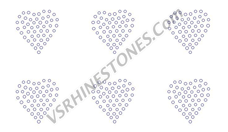 Heart Filled Mini (6) Rhinestone Transfer