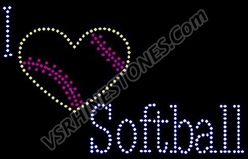 "I ""heart"" Softball Rhinestone Transfer"