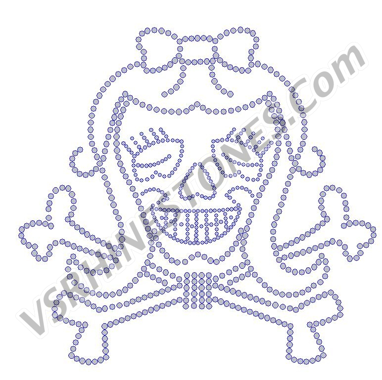 Girl Skull with Long Hair Rhinestone Transfer