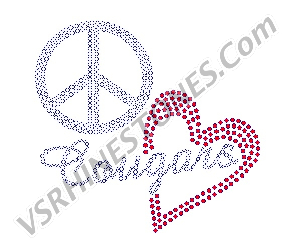 Peace Love Cougars Red Heart Rhinestone Transfer