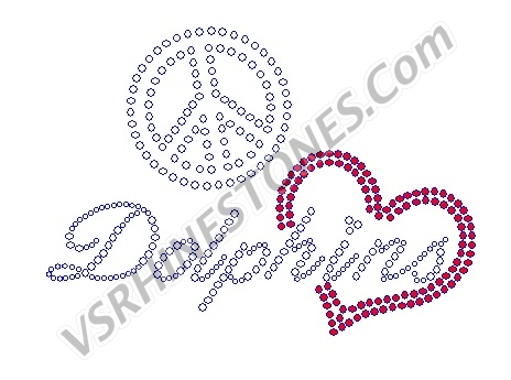 Peace Love Dolphins Red Heart Rhinestone Transfer
