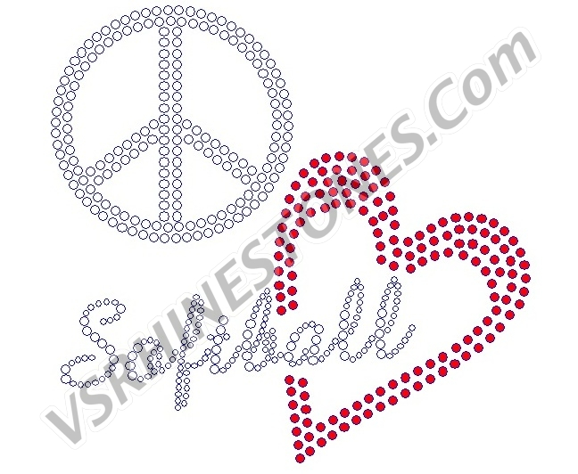 Peace Love Softball - Red Heart Rhinestone Transfer
