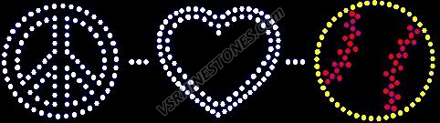 Peace Love Softball Rhinestone Transfer