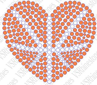 Basketball Heart - filled Rhinestone Transfer