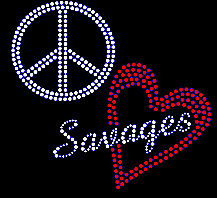 Peace Love Savages - red heart