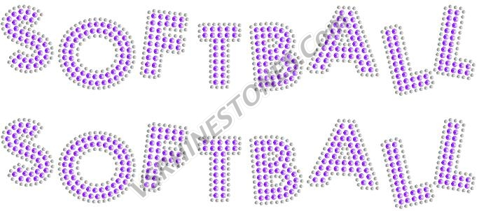 SOFTBALL Sequin Word (2 per order) Pink