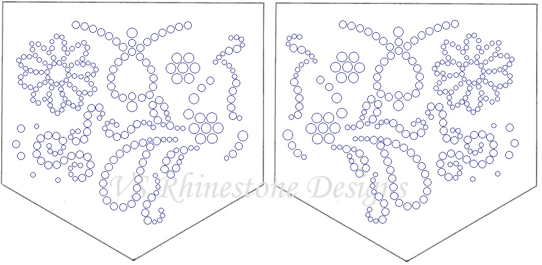 Swirls Rhinestone Pocket Transfer